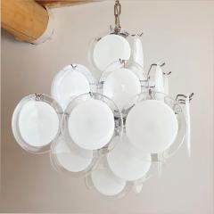 Gino Vistosi Mid Mod Pyramidal White Murano Glass disc chandelier Vistosi Italy 1980s - 2038187