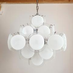 Gino Vistosi Mid Mod Pyramidal White Murano Glass disc chandelier Vistosi Italy 1980s - 2038188