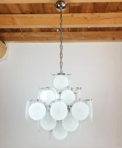 Gino Vistosi Mid Mod Pyramidal White Murano Glass disc chandelier Vistosi Italy 1980s - 2038189