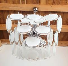 Gino Vistosi Mid Mod Pyramidal White Murano Glass disc chandelier Vistosi Italy 1980s - 2038196