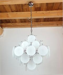 Gino Vistosi Mid Mod Pyramidal White Murano Glass disc chandelier Vistosi Italy 1980s - 2038199