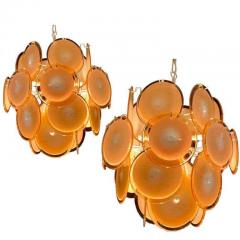 Gino Vistosi Pair of Midcentury Amber Murano Glass Discs Italian Chandeliers 1970s - 1661278