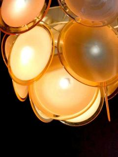 Gino Vistosi Pair of Midcentury Amber Murano Glass Discs Italian Chandeliers 1970s - 1661282