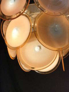 Gino Vistosi Pair of Midcentury Amber Murano Glass Discs Italian Chandeliers 1970s - 1661293