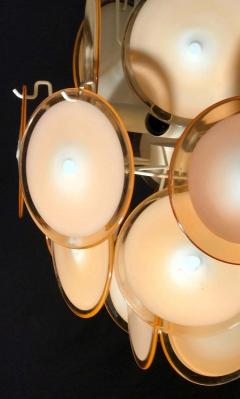 Gino Vistosi Pair of Midcentury Amber Murano Glass Discs Italian Chandeliers 1970s - 1661294