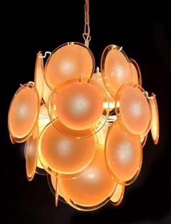 Gino Vistosi Pair of Midcentury Amber Murano Glass Discs Italian Chandeliers 1970s - 1661304