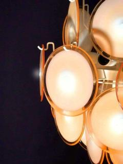 Gino Vistosi Pair of Midcentury Amber Murano Glass Discs Italian Chandeliers 1970s - 1661305
