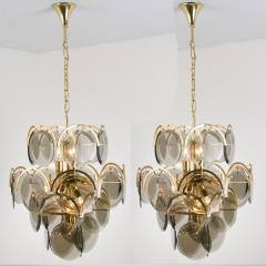 Gino Vistosi Pair of Smoked Glass and Brass Chandeliers in the Style of Vistosi Italy 1970 - 1039467