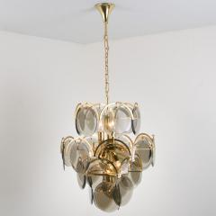 Gino Vistosi Pair of Smoked Glass and Brass Chandeliers in the Style of Vistosi Italy 1970 - 1039469
