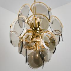 Gino Vistosi Pair of Smoked Glass and Brass Chandeliers in the Style of Vistosi Italy 1970 - 1039470