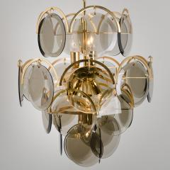 Gino Vistosi Pair of Smoked Glass and Brass Chandeliers in the Style of Vistosi Italy 1970 - 1039472