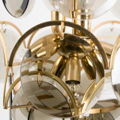 Gino Vistosi Pair of Smoked Glass and Brass Chandeliers in the Style of Vistosi Italy 1970 - 1039474