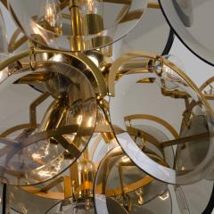 Gino Vistosi Pair of Smoked Glass and Brass Chandeliers in the Style of Vistosi Italy 1970 - 1039475