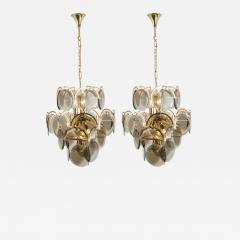 Gino Vistosi Pair of Smoked Glass and Brass Chandeliers in the Style of Vistosi Italy 1970 - 1039911