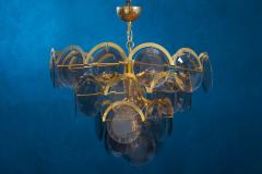 Gino Vistosi Vistosi Gray Murano Glass Disc Chandelier Italy 1970s - 2057444