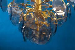 Gino Vistosi Vistosi Gray Murano Glass Disc Chandelier Italy 1970s - 2057445