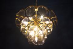 Gino Vistosi Vistosi Gray Murano Glass Disc Chandelier Italy 1970s - 2057447