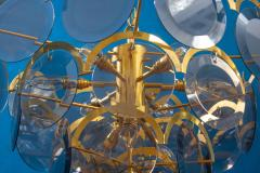 Gino Vistosi Vistosi Gray Murano Glass Disc Chandelier Italy 1970s - 2057448