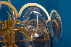 Gino Vistosi Vistosi Gray Murano Glass Disc Chandelier Italy 1970s - 2057449