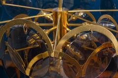 Gino Vistosi Vistosi Gray Murano Glass Disc Chandelier Italy 1970s - 2057451