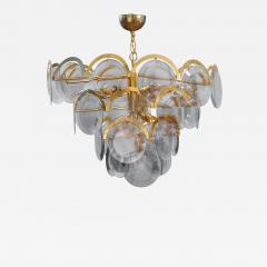 Gino Vistosi Vistosi Gray Murano Glass Disc Chandelier Italy 1970s - 2060140