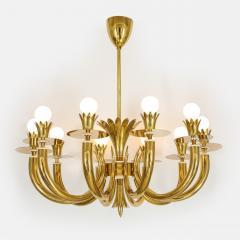 Gio Ponti 10 Arm Brass Chandelier - 1266197