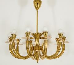 Gio Ponti 10 Arm Brass Chandelier - 1266198