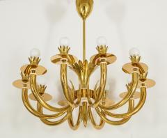 Gio Ponti 10 Arm Brass Chandelier - 1266199