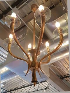 Gio Ponti Brass Gio Ponti style Chandelier Mid Century Modern - 631715