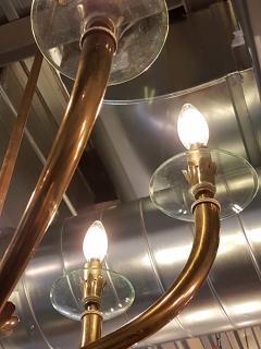 Gio Ponti Brass Gio Ponti style Chandelier Mid Century Modern - 631718