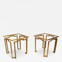 Gio Ponti Brass and Glass Sculptural Geometric Side Tables by Arturo Pani Mexico 1950s - 1447024