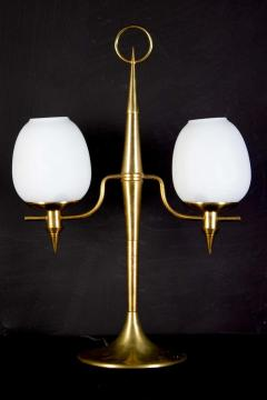 Gio Ponti Elegant Brass and Opaline Murano Glass Table Lamp Attributed to Gio Ponti - 1561704