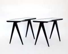 Gio Ponti GIO PONTI BLACK LACQUERED SIDE TABLES MIRRORED GLASS TOPS ASYMMETRICAL FORMS - 2107336