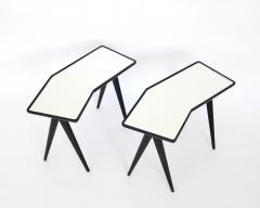 Gio Ponti GIO PONTI BLACK LACQUERED SIDE TABLES MIRRORED GLASS TOPS ASYMMETRICAL FORMS - 2107337