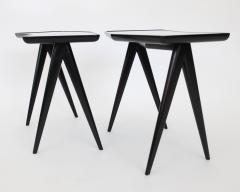 Gio Ponti GIO PONTI BLACK LACQUERED SIDE TABLES MIRRORED GLASS TOPS ASYMMETRICAL FORMS - 2107339