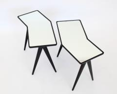 Gio Ponti GIO PONTI BLACK LACQUERED SIDE TABLES MIRRORED GLASS TOPS ASYMMETRICAL FORMS - 2107340