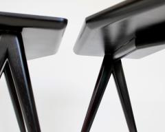 Gio Ponti GIO PONTI BLACK LACQUERED SIDE TABLES MIRRORED GLASS TOPS ASYMMETRICAL FORMS - 2107341