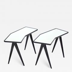 Gio Ponti GIO PONTI BLACK LACQUERED SIDE TABLES MIRRORED GLASS TOPS ASYMMETRICAL FORMS - 2109151