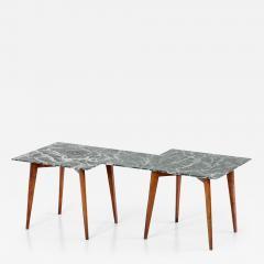 Gio Ponti Geometric Italian 1940s Coffee Table with Green Marble Top - 445719