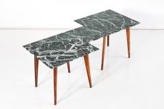 Gio Ponti Geometric Italian 1940s Coffee Table with Marmo Verde Alpi Marble Top - 1284832