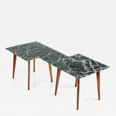 Gio Ponti Geometric Italian 1940s Coffee Table with Marmo Verde Alpi Marble Top - 1288806