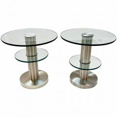 Gio Ponti Gio Ponti 1990s Fontana Arte Pair of Clear Glass and Nickel Round Side Tables - 546471
