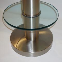 Gio Ponti Gio Ponti 1990s Fontana Arte Pair of Clear Glass and Nickel Round Side Tables - 546472