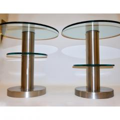Gio Ponti Gio Ponti 1990s Fontana Arte Pair of Clear Glass and Nickel Round Side Tables - 546474