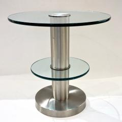 Gio Ponti Gio Ponti 1990s Fontana Arte Pair of Clear Glass and Nickel Round Side Tables - 546476