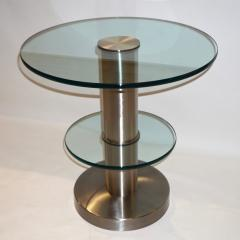 Gio Ponti Gio Ponti 1990s Fontana Arte Pair of Clear Glass and Nickel Round Side Tables - 546477