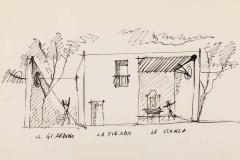 Gio Ponti Gio Ponti Architectural Drawing Disegno di una Villa a Bordighera  - 1630821