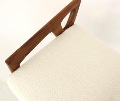 Gio Ponti Gio Ponti Italian Stools in Walnut and Upholstered In Italian Cream Boucle - 1612617