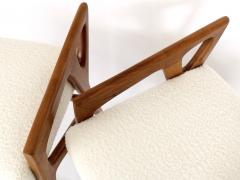 Gio Ponti Gio Ponti Italian Stools in Walnut and Upholstered In Italian Cream Boucle - 1612618
