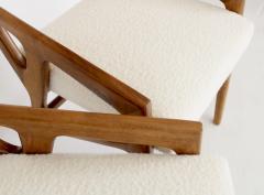 Gio Ponti Gio Ponti Italian Stools in Walnut and Upholstered In Italian Cream Boucle - 1612620